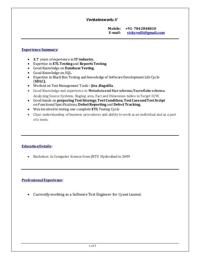 manual tester resume 3 years experience